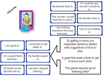 Back to School - getting to know you icebreaker game.