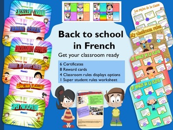 Back to School in French displays certificates rules and reward cards