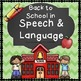 Back to School in Speech Therapy Bundle