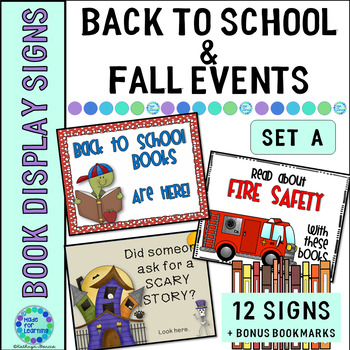 Book Display Signs for the Library or Classroom: Set A Back to School/Fall