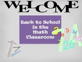 Back to School in the Math Classroom