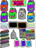 Back to School set 5 School Supplies on Notebook Paper