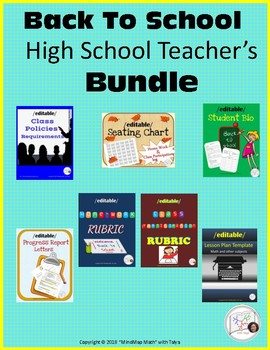 Back to School templates BUNDLE: rubric, progress report, seating chart, lesson