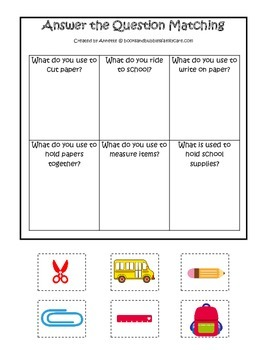 Back to School themed Answer the Question preschool learning game.