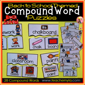 Back to School themed Compound Word Puzzles