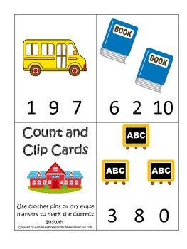 Back to School themed Count and Clip preschool learning math activity.