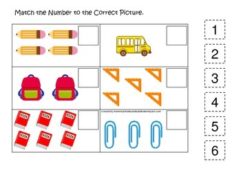 Back to School themed Match the Number preschool math lear