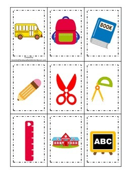 Back to School themed Memory Matching preschool learning game.