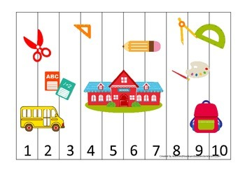 Back to School themed Number Sequence preschool learning game puzzle.