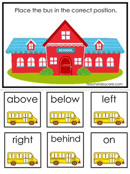 Back to School themed Positional Game.  Printable Preschool Curriculum Game