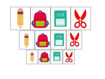 Back to School themed Size Sorting preschool learning game.