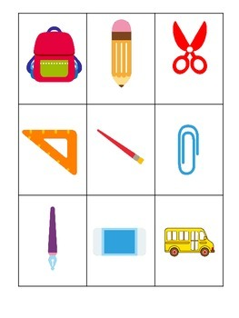 Back to School themed Three Part Matching preschool learning game.