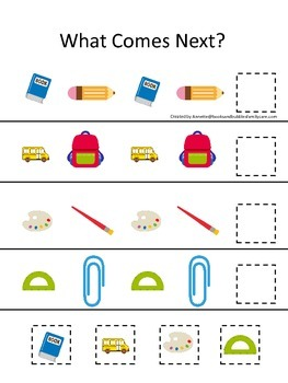 Back to School themed What Comes Next preschool pattern learning game.