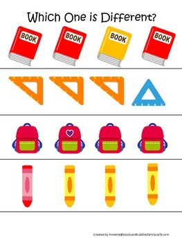 Back to School themed Which One is Different preschool learning game.