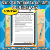 Back to School to do List to DELEGATE {Free and Editable}