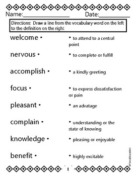 Back to School vocabulary building