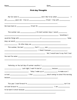 Back to School*First Day Activity* Independent Writing  Activity
