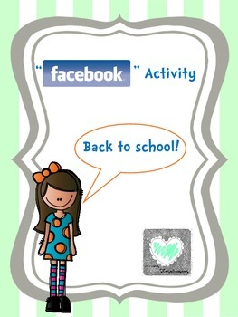 Back to School/First day of School Activity-''Facebook'' Style