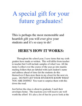 Back to School....Get Started on a Graduation Gift for Your Students!