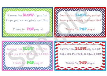 Back to School/Meet the Teacher Student Gift Tags-Summer has BLOWn by...