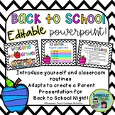 Back to School/Open House Editable PowerPoint