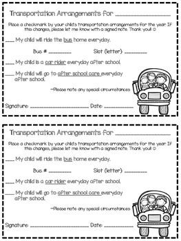 Back to School/Open House Transportation Note