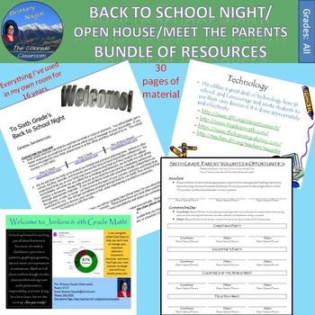 Back to School/Open House/Meet the Teacher Bundle of Resources