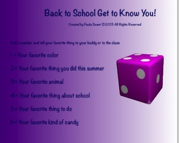 Back to School~Roll a Number and Share