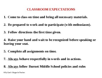 Classroom Expectations and Consequences