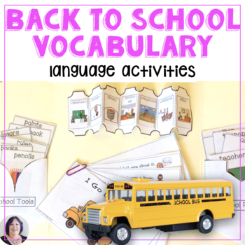 Back to School vocabulary books language  for speech, special education, autism