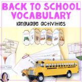 Back to School Vocabulary Book and Language Activities for