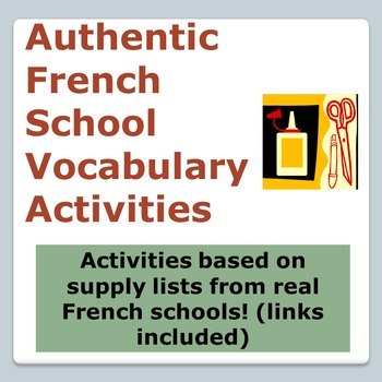 Back to School Shopping List - French School Vocab Activit