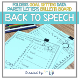 Back to School Speech Therapy Materials | Folders Goal-Setting Bulletin Boards
