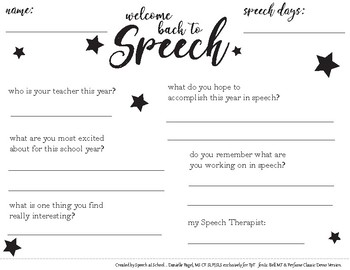 Back to Speech Interview Printable