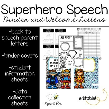 Back to Speech Letters and Speech Teacher Binder