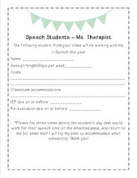 Back to Speech - Student Info Letter for Teachers - Editable