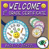 Back to school 1st grade certificate