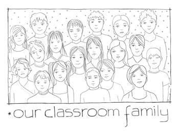 20 drawings of students to identify/represent themselves and color