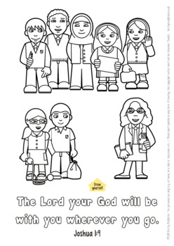 Back to school Bible verse colouring picture