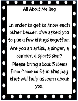 """Back to school """"About Me Bag"""""""