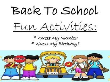 Back to school Activities: Math Focus