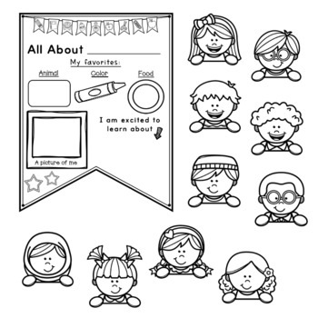 All About Me! Back to school First day of school Banner Pennant