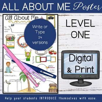 Back to school - All About Me Posters (Level 1)