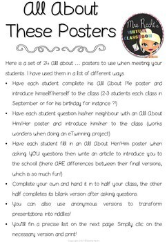 All About Me Posters Level 1