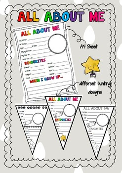 Back to school: All About Me bunting activity FREEBIE
