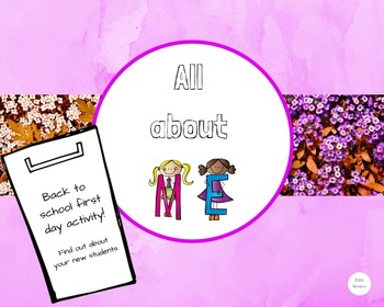 Back to school - All about me activity!