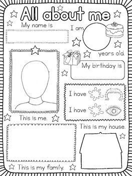 Back to school - All about me coloring poster
