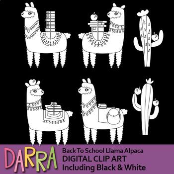 Back to school Alpaca Llama Clip Art