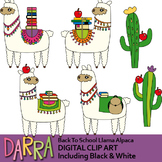 Back to school Alpaca Llama Clip Art