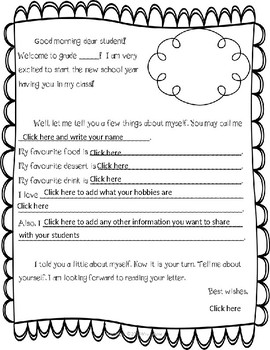 Back to school. An Editable Introduction letter from a Teacher to a Student
